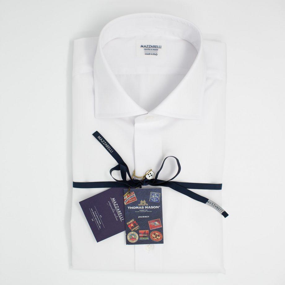 Camicia bianca in tessuto popeline- Collezione Journey di Thomas Mason